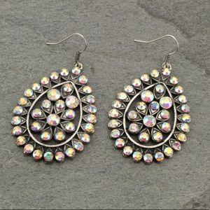 Western Rhinestone Teardrop Earrings